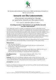 Seminar Sensorik Frankfurt - BNN Herstellung und Handel eV