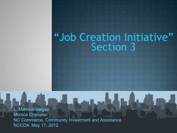 """Job Creation Initiative"" Section 3 - Department of Commerce"