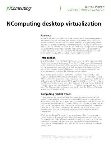 Desktop Virtualization Whitepaper - NComputing