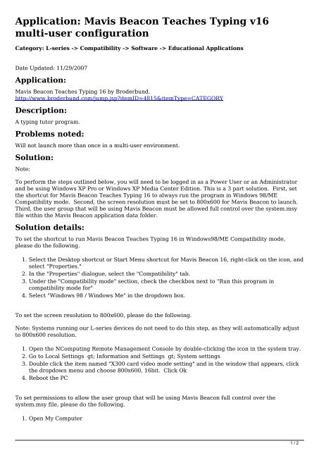 Application: Mavis Beacon Teaches Typing v16 multi