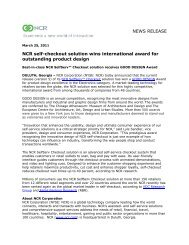 NEWS RELEASE NCR self-checkout solution wins international ...
