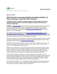 NEWS RELEASE NCR launches converged retailing marketing ...