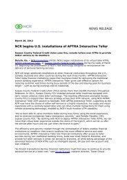 NCR begins installation of Interactive Teller FINAL