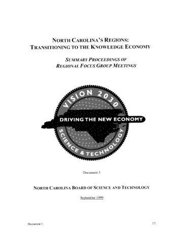 NORTH CAR()LINA'S REGIONS: - NC Commerce