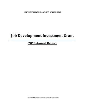 Job Development Investment Grant - Department of Commerce