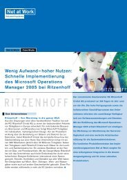 Ritzenhoff: Microsoft Operations Manager - Net at Work