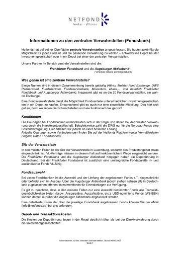 Informationen zu den zentralen Verwahrstellen (Fondsbank)