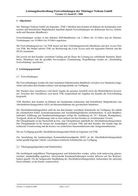 Leistungsbeschreibung Festverbindungen Der Thüringer Netkom