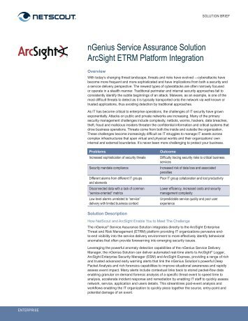 nGenius Service Assurance Solution ArcSight ETRM - NetScout