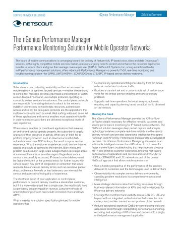 nGenius Performance Manager for Service Provider ... - NetScout