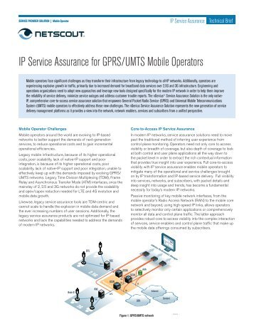 IP Service Assurance for GPRS/UMTS Mobile Operators - NetScout