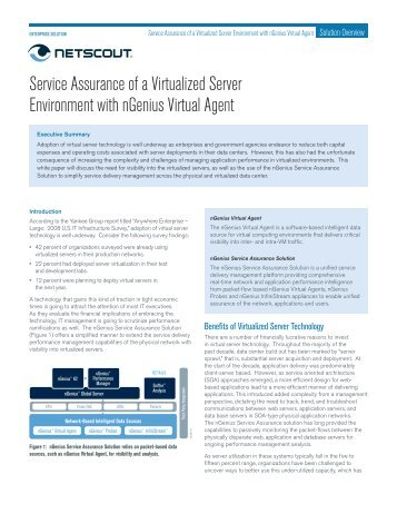 Service Assurance of a  Virtualized Server Environment with - NetScout