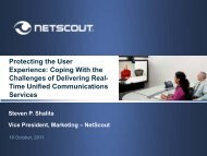 NetScout Overview: Protecting the User Experience