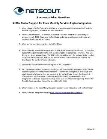 FAQ - Sniffer Global - NetScout