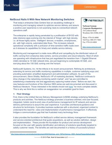 Ptak / Noel Commentary - NetScout  Nails It With New