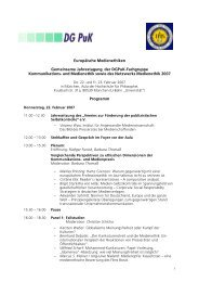 Programm Jahrestagung 2007 - Netzwerk Medienethik