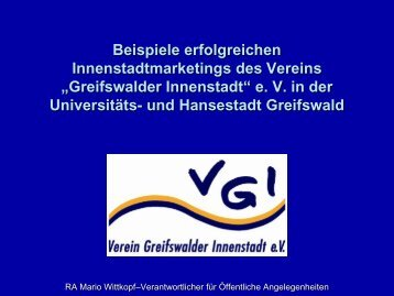 """Greifswalder Innenstadt"" e. V. - IHK Neubrandenburg"