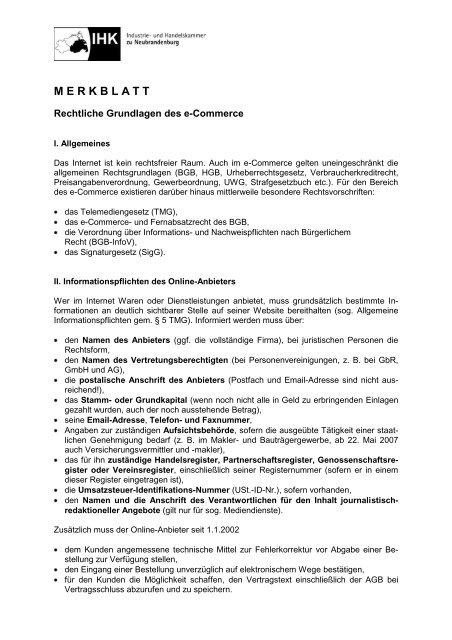 Merkblatt E Commerce IHK Neubrandenburg