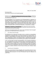 Schwerpunkte: Die Position des bne zum Gasnetzzugang