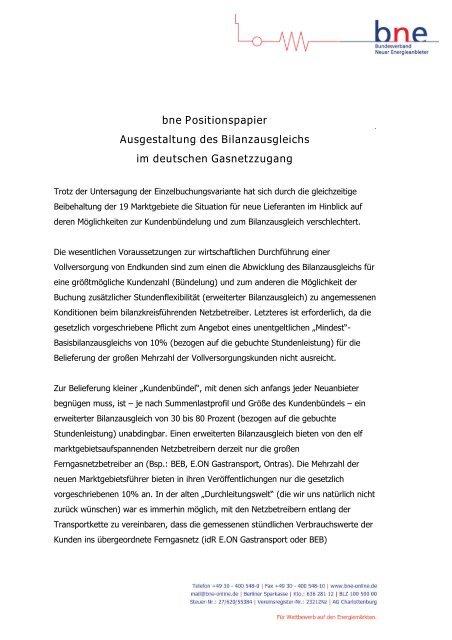 bne Positionspapier Ausgestaltung des Bilanzausgleichs im ...