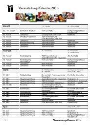 Veranstaltungs- kalender 2013 - Stadt Neuenstein