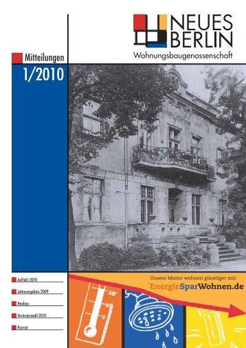 1/2010 - Wohnungsbaugenossenschaft Neues Berlin