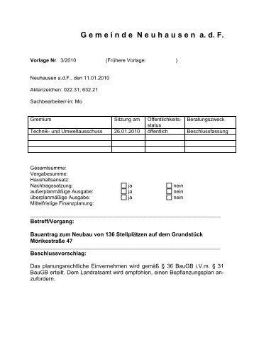Formular Vorlage - Gemeinde Neuhausen auf den Fildern