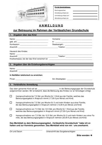 Anmeldung und Abmeldung Verlässliche Grundschule - Neukirch