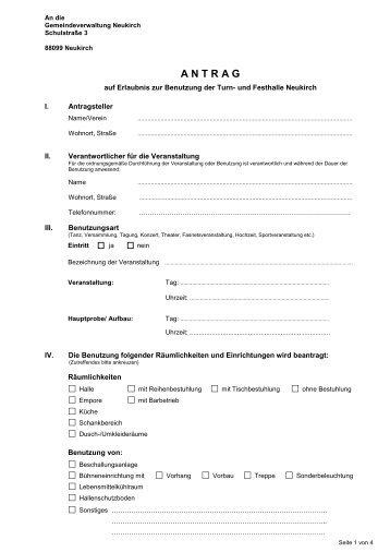 Antrag auf Anmietung der Turn und Festhalle - Neukirch