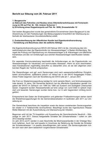 Bericht zur Sitzung vom 28. Februar 2011 - Neukirch