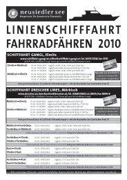SChIFFFahRT DReSCheR LINeS, Mörbisch ... - Neusiedler See