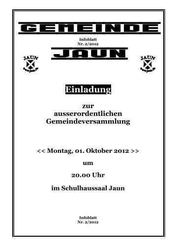 Einladung zur ausserordentlichen ... - Gemeinde Jaun