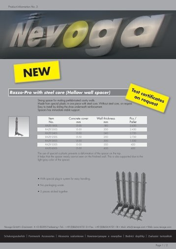 Product-Information No. 3 - Nevoga