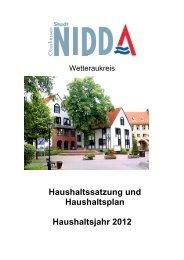 Haushaltssatzung und Haushaltsplan Haushaltsjahr 2012 - Nidda