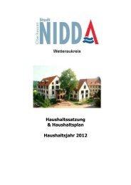 Haushaltssatzung & Haushaltsplan Haushaltsjahr 2012 - Nidda