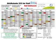 Bad Salzhausen Abfallkalender 2012 der Stadt - Nidda