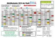 Bad Salzhausen Abfallkalender 2013 der Stadt - Nidda