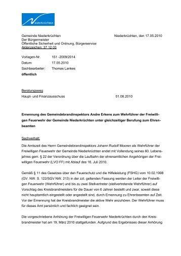 Ernennung des Gemeindebrandinspektors An