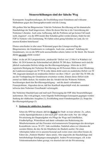 Steuererhöhungen sind der falsche Weg - Stadt Nieheim