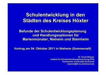 Schulentwicklung in den Städten des Kreises Höxter - Nieheim