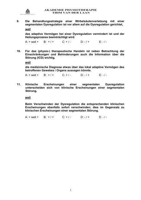 Probeprüfung Neurophysiologie theorie - Physiotherapie Michel ...
