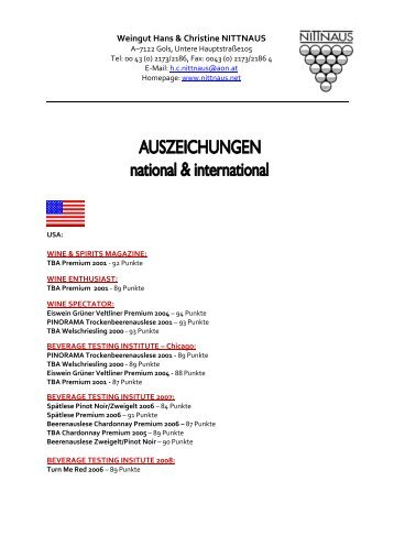 Awards Liste Homepage deutsch_05_2009 - Weingut Hans und ...
