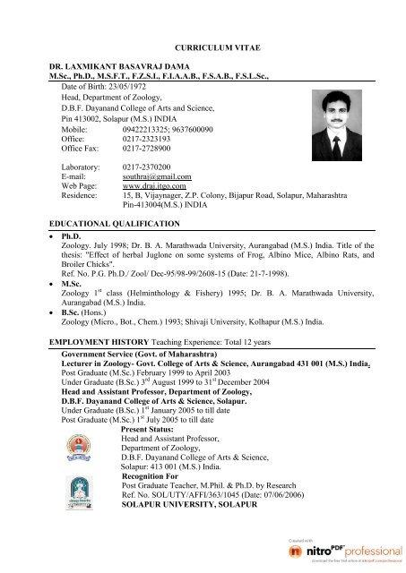 Curriculum Vitae Dr Laxmikant Basavraj Dama M Sc