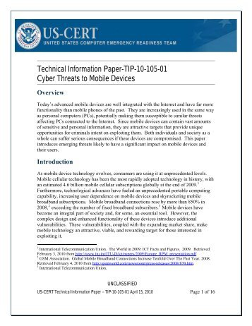 Technical Information Paper-TIP-10-105-01 Cyber Threats to Mobile Devices