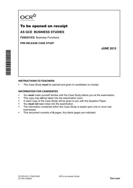 ocr business f292 case study