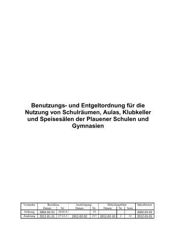 Benutzungs- und Entgeltordnung für die Nutzung von ... - Stadt Plauen