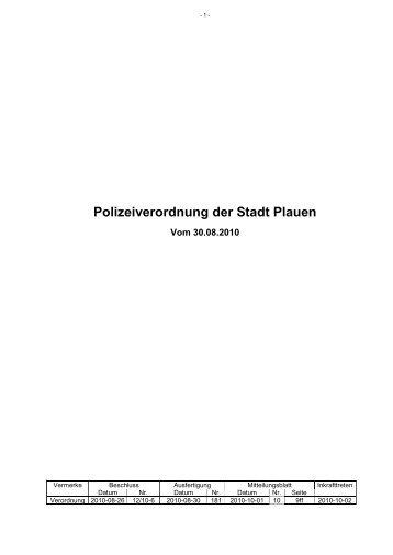 Polizeiverordnung Seitenanfang - Stadt Plauen