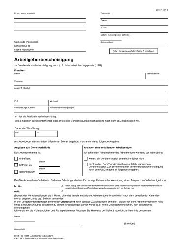 Arbeitgeberbescheinigung - Pleiskirchen