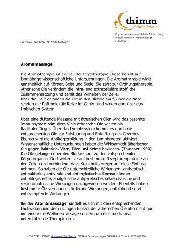 Aromamassage Die Aromatherapie ist ein Teil ... - Plettenbergschule