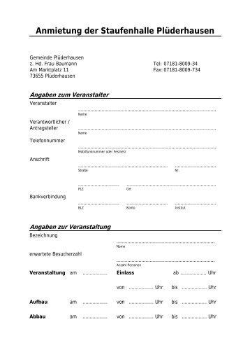 Antrag auf Anmietung der Staufenhalle Plüderhausen - Gemeinde  ...